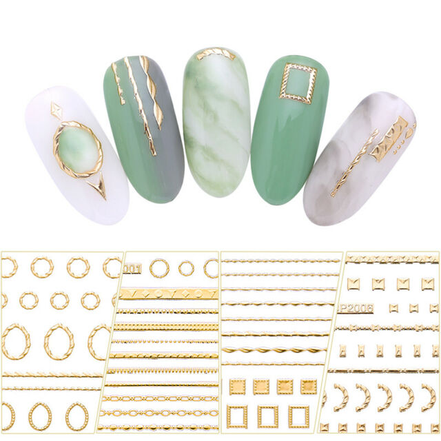 3D Gold Nail Stickers Adhesive Geometric Decals for Nail Art Phone Decoration