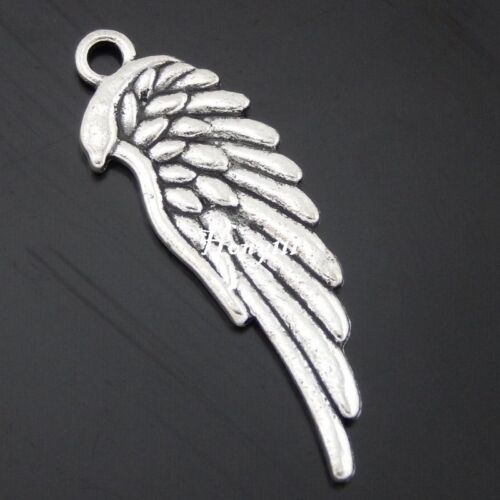 50613 Antique Silver Alloy Feather Wing Jewelry Craft Pendant Charms 30PCS
