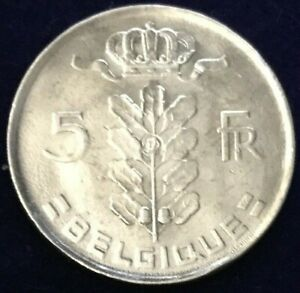 Vintage-1976-Belgium-Baudouin-I-French-Text-5-Franc-Coin