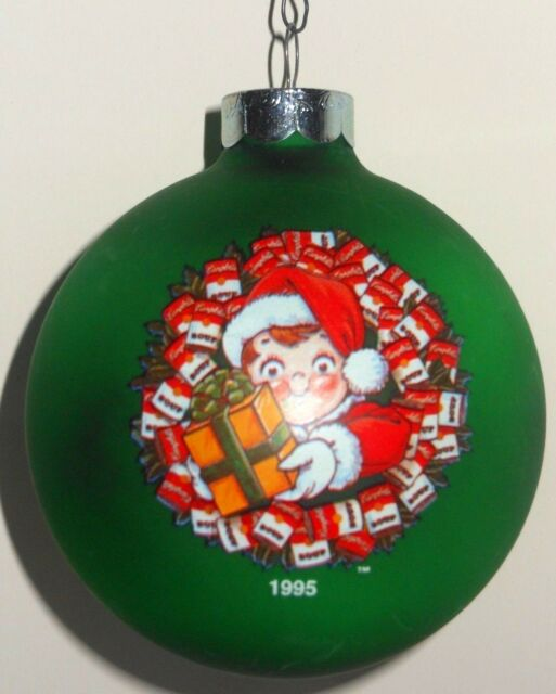 Collectible Vintage Green & Red Campbell's Soup Kid Christmas Ornament - Campbell Ornaments Collection On EBay!