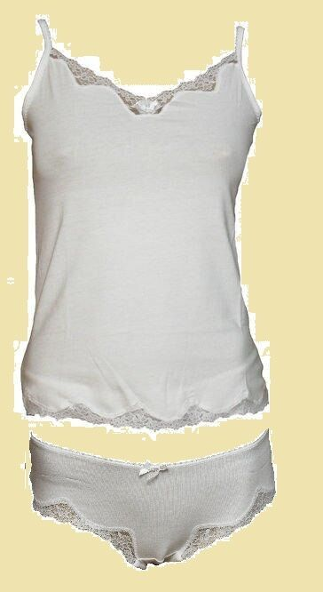 Bnwt Rrp £35 Figleaves Camisole &pant/short Set Pure White With Lace Trim & Bow