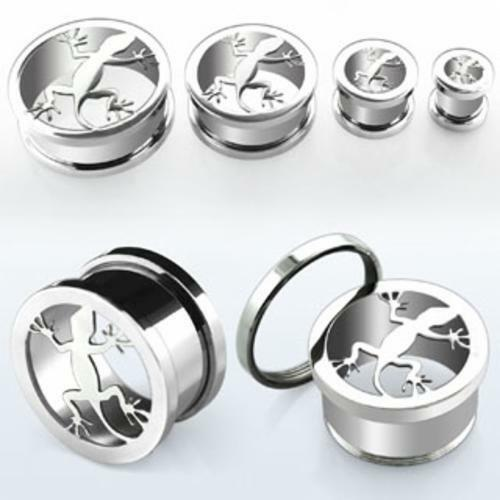 """Pair Anodized Steel Silver Polished Screw Fit Flesh Tunnel Lizards Plugs 0G-5/8"""""""