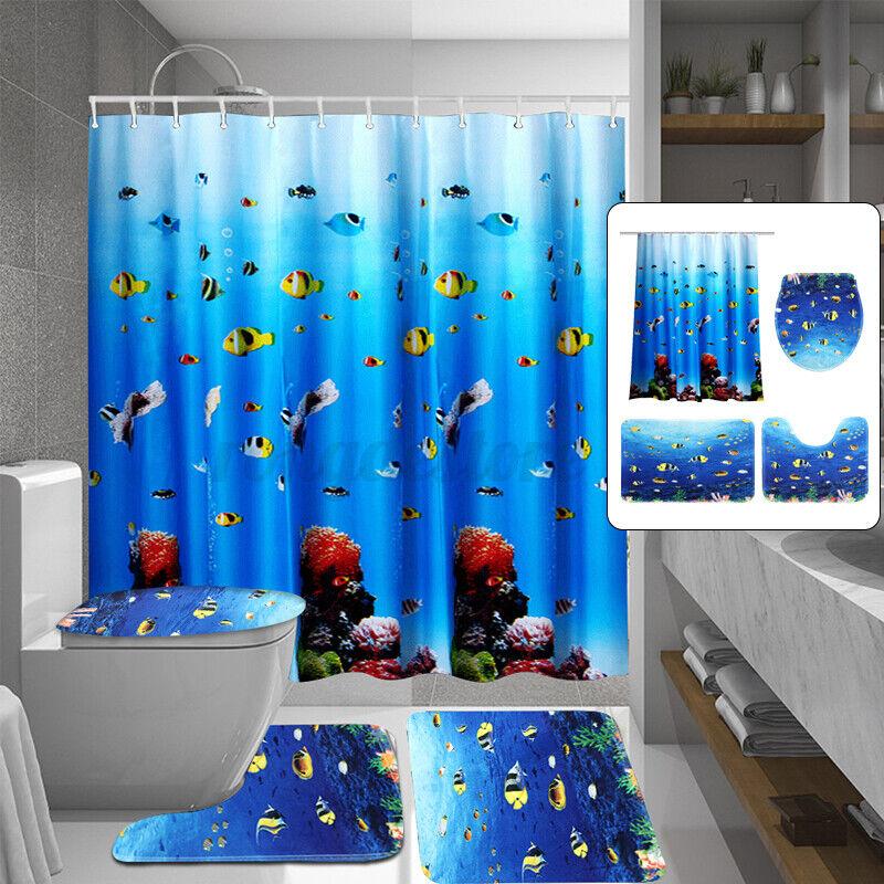 Green Mermaid Door Bath Mat Toilet Cover Rugs Shower Curtain Bathroom Decor