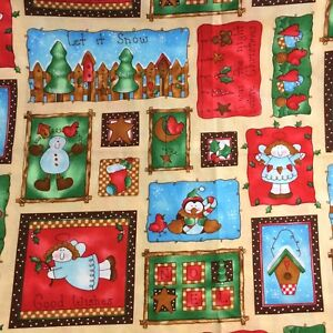 Good-Wishes-Patchwork-Christmas-Winter-Cotton-Fabric-Quilting-Crafts-2-5-Yards