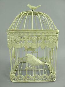 Antico Decorazione Gabbia per Uccelli IN Metallo Piante Fiori Bianco (K)