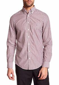 2564092388 Gant Men's Banker Stripe Regular Fit Shirt Cotton Burgundy Red Size ...