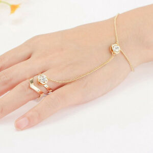 Image Is Loading Jewelry Hand Link Finger Rhinestone Chain Gold Plated
