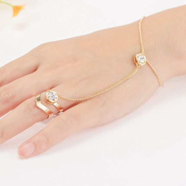 Jewelry Hand Link Finger Rhinestone Chain Gold Plated Ring Bracelet