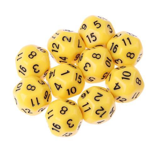 10 pezzi 16 lati d16 14mm acrilici dadi opachi per giochi di ruolo giallo