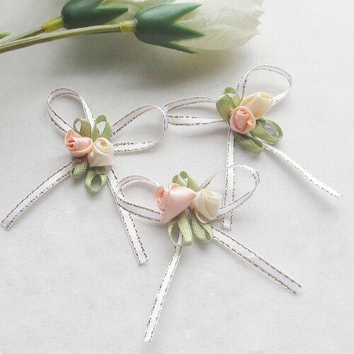 Wholesale Satin Ribbon Flowers Bows w/rose Wedding Decor Appliques 30/150pcs