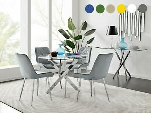 Novara Chrome Round Glass Dining Table And 4 Velvet Faux Leather Dining Chairs Ebay