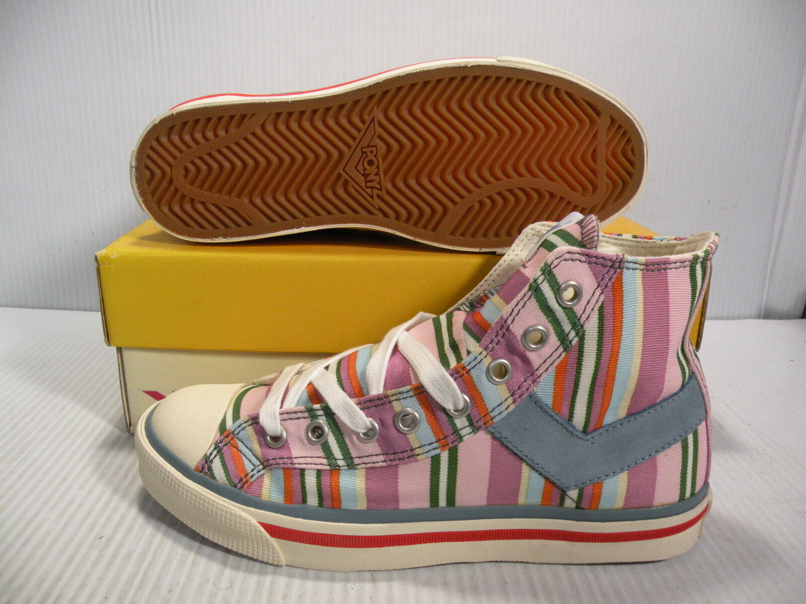 PONY SHOOTER '78 HIGH CHEVRON SNEAKERS WOMEN SHOES MIX 1781 SIZE 7 NEW