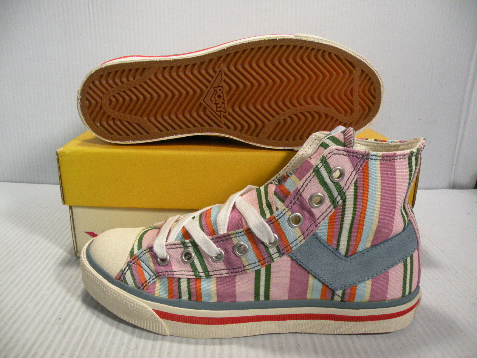 PONY SHOOTER '78 HIGH CHEVRON SNEAKERS WOMEN SHOES PINK MIX 1781 SIZE 6.5 NEW