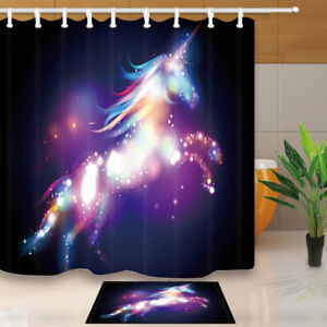 Image Is Loading Abstract Colored Unicorn Shower Curtain Bathroom Decor Fabric