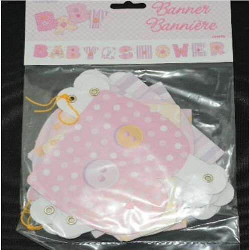 Baby Shower party 11 piece jointed card banner pink blue yellow FREE POSTAGE