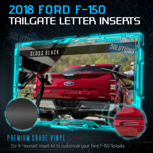 Black 2018 Ford F-150 F150 Tailgate Vinyl Letter Insert Decals Glossy Gloss
