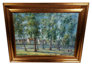 FRAMED-IMPRESSIONIST-LANDSCAPE-TREES-HOUSES-OIL-PAINTING-GATHERING-IN-THE-PARK
