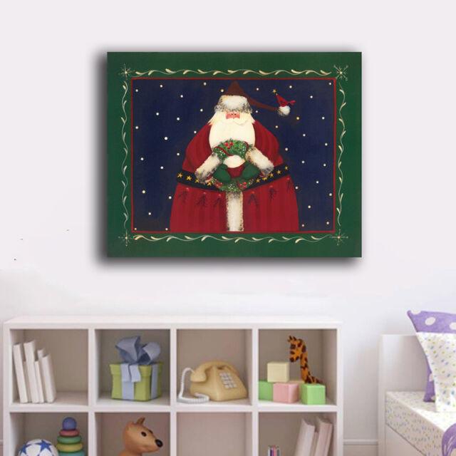 30×40×3cm Merry Xmax Santa Canvas Prints Framed Wall Art Home Decor Gift IV