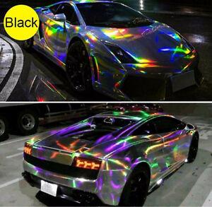 Black Holographic Rainbow Chrome Car Vinyl Air Bubble Free 58 X12