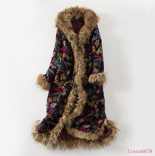 Femmes de fourrure col vestes longues occasionnels ethnique tendance 2019 capuchon à rétro manteaux rqErwB5