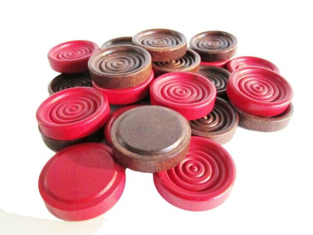 24 Wooden Checkers Pieces 12 Red 12 Brown Wood Stacking 1.25