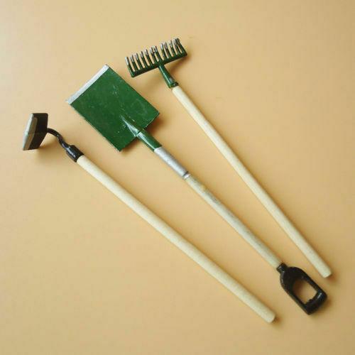 3PC//Set Dollhouse Miniature Fairy Garden Accessory Tools Spade Rake Shed 1:12 \