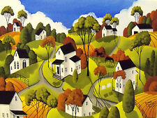 ORIGINAL painting large 18x24 folk art landscape country road black horses farms