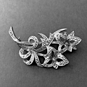 Vintage Brooch Marcasite Silver tone Trillium Flower Floral Spray Art Deco