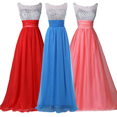 STOCK Beaded Long Prom Dress Bridesmaid Graduation Wedding A-Line Evening Gowns