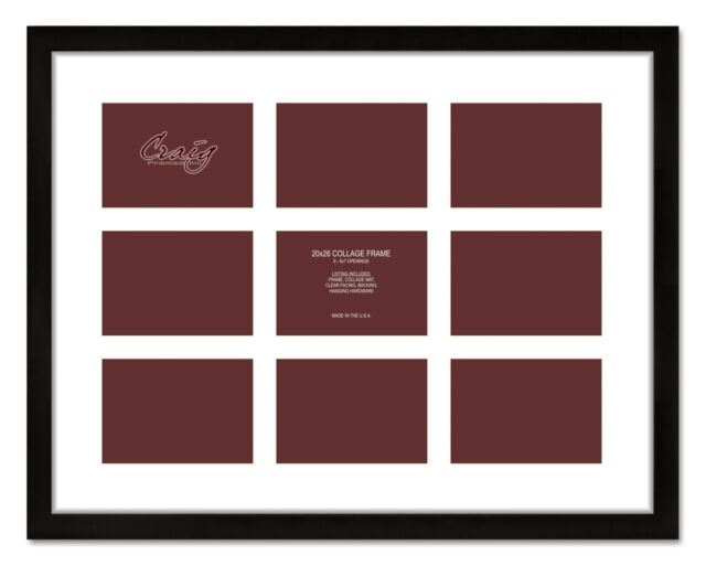 Craig Frames 20x26 Black Picture Frame White Collage Mat With 9