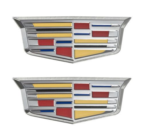 "Cadillac New Style Crest 4 3//4/"" Adhesive Chrome Fender Grille Emblems Pair LH RH"