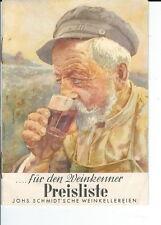 AS-033 - Johs. Schmidt's Che Wine Price List, Printed in German, 1920's Vintage