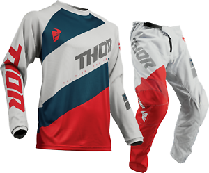 Thor Sector Shear Light Grey Red Offroad MX Motocross Race Kit Gear Adult