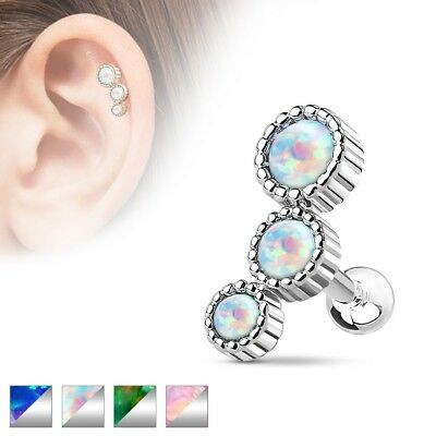 14K Solid Gold OPAL STUD Tragus CARTILAGE Helix CONCH EAR Rings Piercing Jewelry