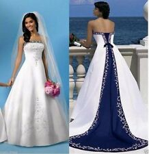 Royal blue and White satin embroidery Wedding Dress bridal custom all size 4-28