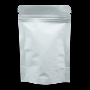 White Kraft Paper Stand Up Foil Plastic Lined Zip Lock