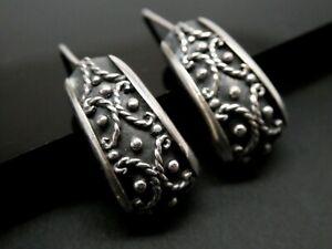 Marked 925 Free shipping. Open Scroll Work With Flower Design Sterling Silver  Half  Hoop Earrings Vintage Item