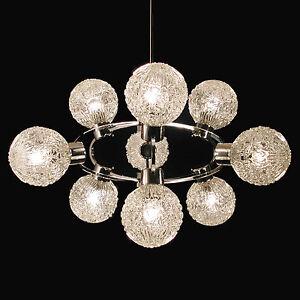 Vintage-Chandelier-Hanging-Light-Atomic-Starburst-Sputnik-Lamp-Chrome-9-Glass