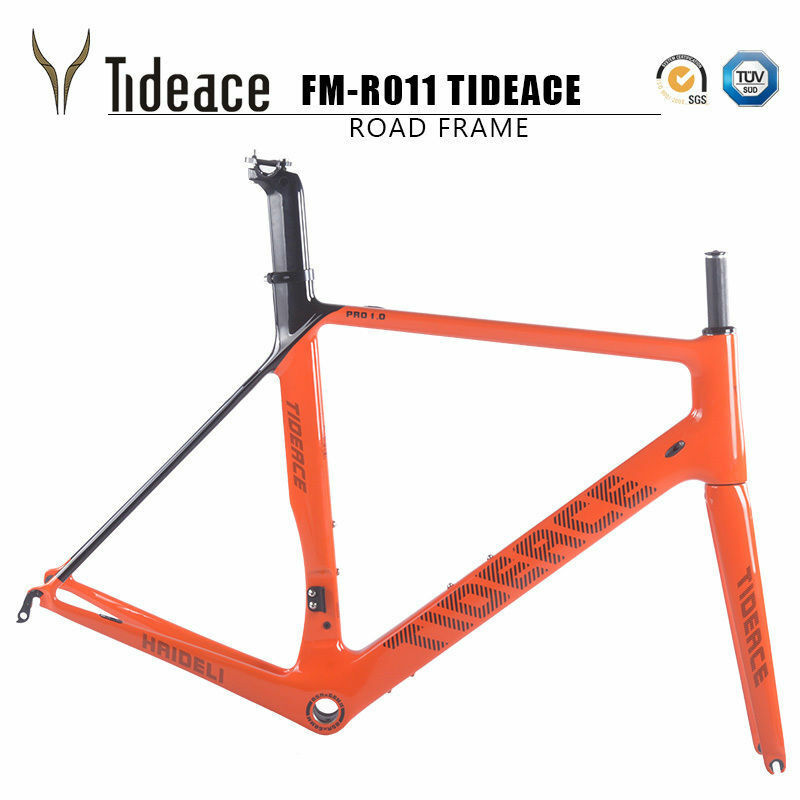 2018 tideace Carbon Road Bike Frame Cycling Road Racing Bicycle Frame BSA Orange