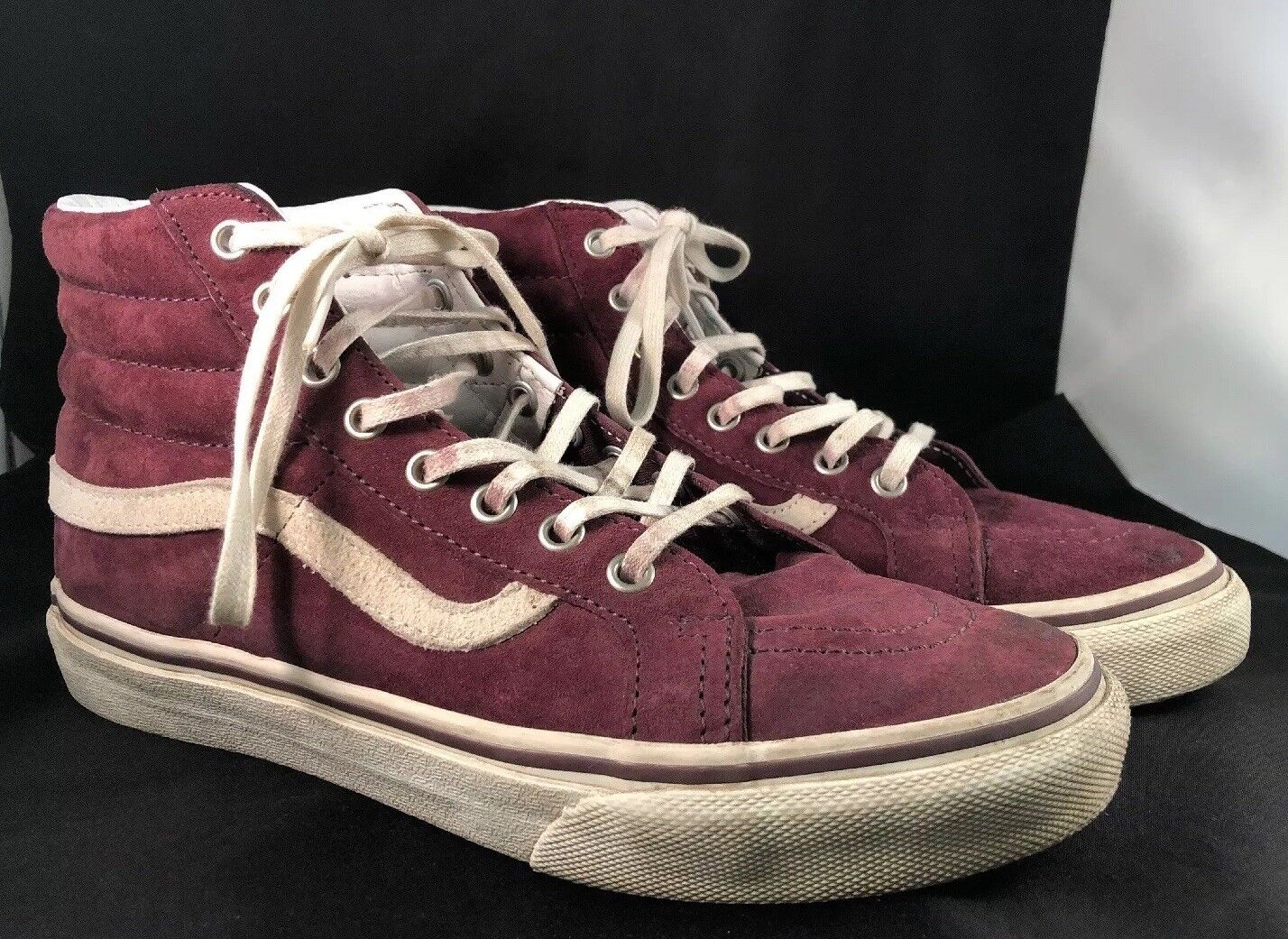 0aa79d0c9d Vans Maroon SK8 High Men Size 4.5 Vintage IFC Soles Leather Suede Used Tops  nuogxi2974-Athletic Shoes
