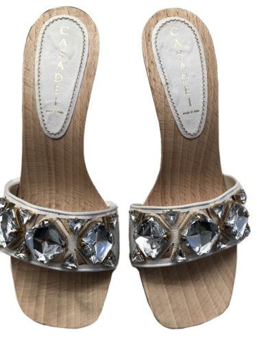 Casadei Wooden Platform Crystal Heels Sz 8
