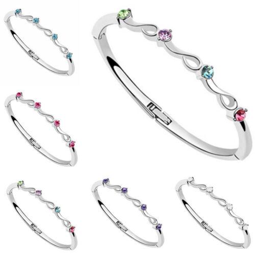 Young Girls Crystal Rhinestone Bangle Silver Plated Bracelet Gift New Fashion