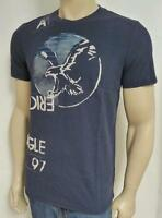 American Eagle Outfitters 1 97 Mens Blue Flocked 100% Cotton T-shirt