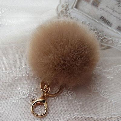 Fluffy 10cm Ball Faux Rabbit Fur Car Keychain Pendant Handbag Charm Keyring Pom
