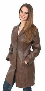 Womens Cynthia Parka Coat Trench Brown 34 Long Ladies Leather yqrY6ScHq