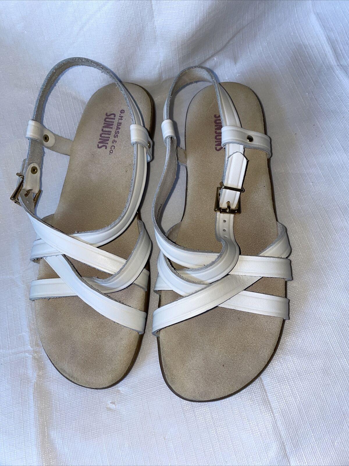 GH BASS Sunjuns Women's White Leather Sandals Str… - image 2