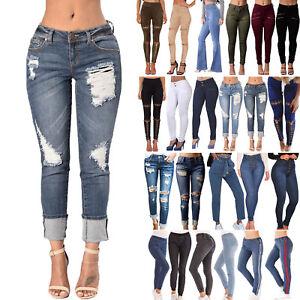 d9551e229b2 Details about Womens Leggings High Waist Jeans Trousers Denim Pencil Pants  Slim Plus Size 8-22