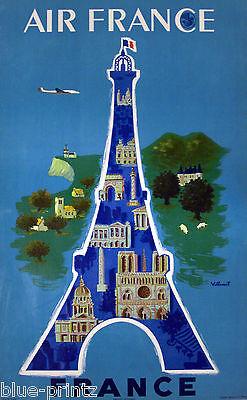 AIR FRANCE PARIS TRAVEL VINTAGE Villemot A1 SIZE PRINT canvas