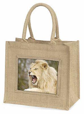 Brüllen Weißer Löwe Große Natürliche Jute-einkaufstasche Weihnachten , AT-43BLN