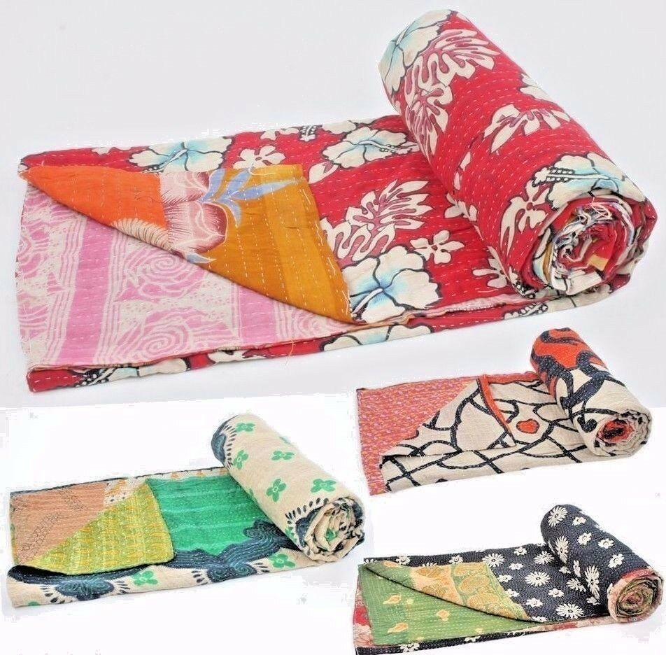 10 Pieces Mix Lot Whole Sale Tribal Kantha Quilts Vintage Cotton Bed Cover Throw